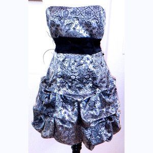 Ruby Rex silver/blk poof strapless dress